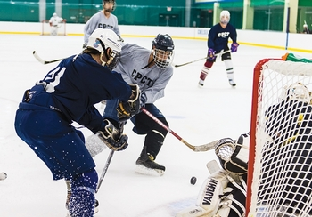 As a shot goes wide during a girls ice hockey game against greenwich academy played at chelsea piers, stamford